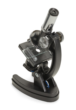 labratory: Backside of a Black Microscope Isolated on White Background. Stock Photo