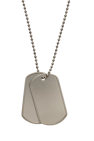 dog tag: Pair of Blank Metal Tags Hanging on Chain. Isolated on a White Background.