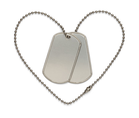 Dog Tags in Shape of Heart to Support the Troops and The Fallen. Isolated on a White Background. Stock Photo