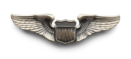 silver medal: Metal Wings given to Pilots in The Air Force. Isolated on White Background. Stock Photo