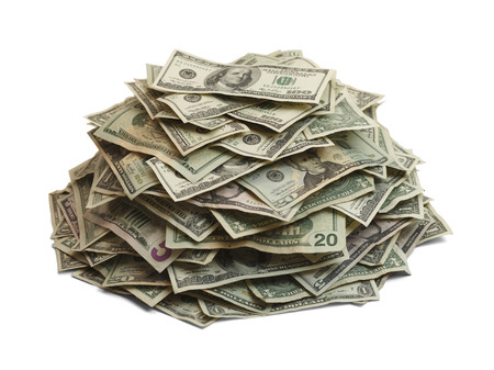us paper currency: Pile Of Cash Isolated On White Background.