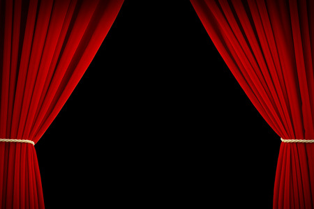 stage background: Open Red Velvet Movie Curtains with Black Screen.