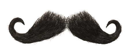 Dark Mens Mustache Isolated on White Background.