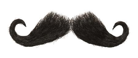 Dark Mens Mustache Isolated on White Background.