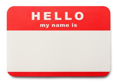 こんにちは赤私の名前はコピー スペース、白い背景で隔離のタグです。 写真素材