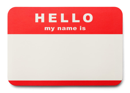 Red Hello My Name Is Tag with Copy Space, Isolated on White Background.