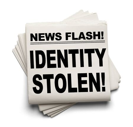 news flash: News Flash Identity Stolen News Paper Isolated on White Background.