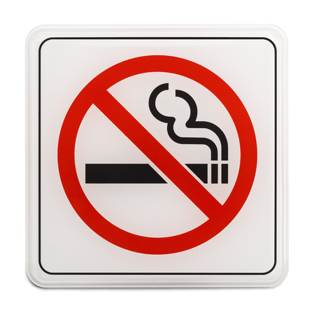 Square Red and Black No Smoking Sign Isolated on White Background. Stock Photo