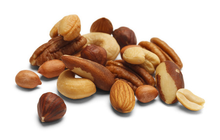 mixed nuts: Variety of Mixed Nuts Isolated on White Background.