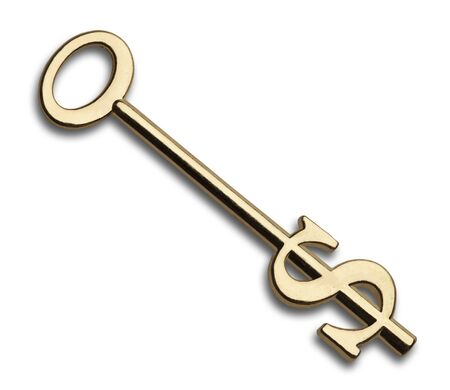 Gold Key with Dollar Symbol Isolated on White Background. Stock Photo