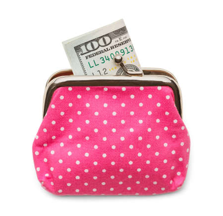 change purse: Pink Change Purse with a Hundred Dollar Bill Isolated on White Background.