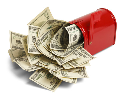 usps: Red Mailbox with Money Stuffed Inside Isolated on White Background.