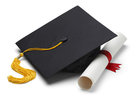 Black Graduation Cap with Degree Isolated on White Background. photo