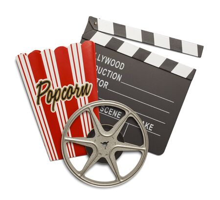 clap board: Film Reel with Clap Board and Popcorn Box Isolated on White Background.