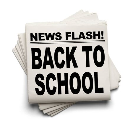 news flash: News Flash Back To School News Paper Isolated on White Background. Stock Photo