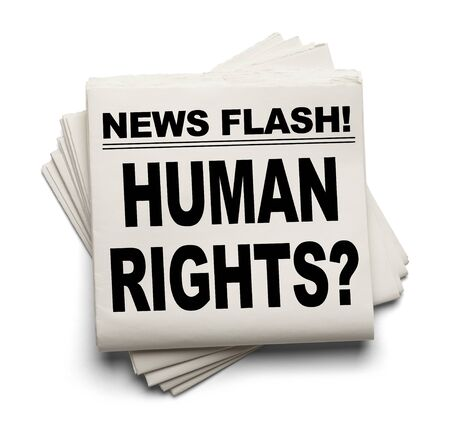 breaking off: News Flash Human Rights? News Paper Isolated on White Background.
