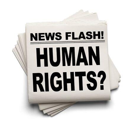 diritti umani: Notizie Flash per i diritti umani? News Paper isolato su sfondo bianco. Archivio Fotografico