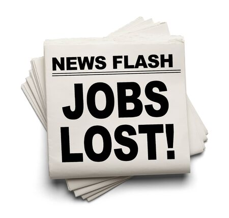 news flash: News Flash Jobs Lost News Paper Isolated on White Background. Stock Photo
