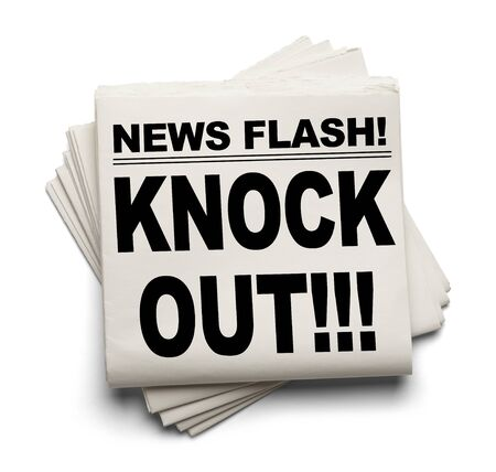 News Flash Knock Out News Paper Isolated on White Background.