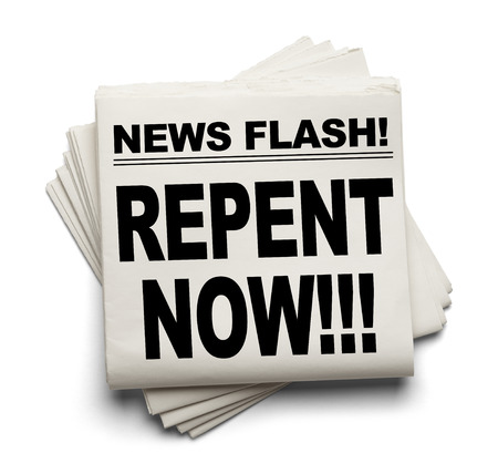 News Flash Repent Now News Paper Isolated on White Background. Stock Photo