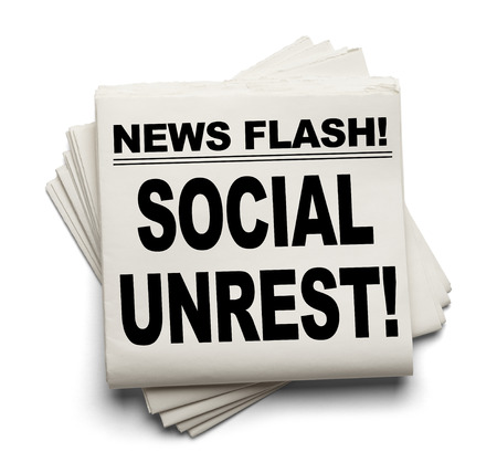 unrest: News Flash Social Unrest News Paper Isolated on White Background. Stock Photo