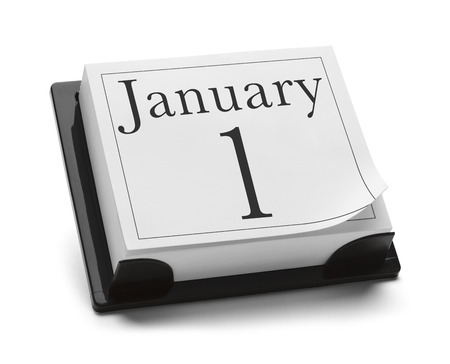 January 1st Calendar Isolated on White Background. photo