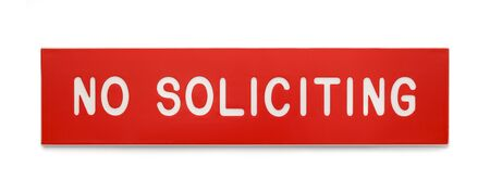 soliciting: Red Plastic Rectangle No Soliciting Sign Isolated on White Background. Stock Photo