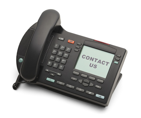 numpad: Black Business Phone Contact Us Isolated on White Background.