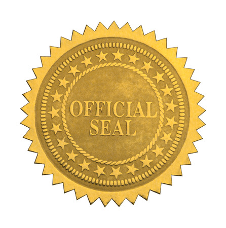 seal stamper: Ornate Gold Official Seal  with Stars Isolated on White Background. Stock Photo