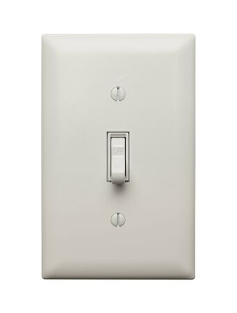 switch on the light: Interruptor de la luz en el Postion Off aislada sobre fondo blanco.