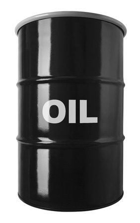 opec: 55 Gallon Black Oil Drum Isolated on White Background. Stock Photo