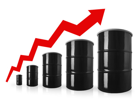 escalating: Oil Drum Stock Graph With Red Arrow Showing Increasing Price of Oil. Stock Photo