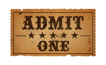 admit one: Wild West Admit One Movie Ticket Isolated on White Background.