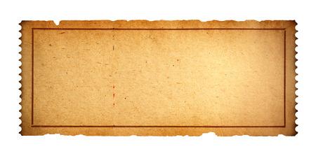 골동품 영화 티켓 복사본 공간 흰색 배경에 고립입니다. 스톡 콘텐츠