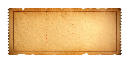 blank empty: Antique Movie Ticket With Copy Space Isolated on White Background. Stock Photo