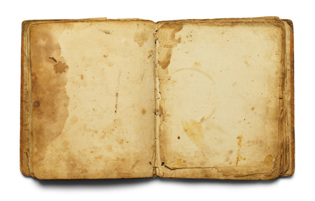 medieval medicine: Open Old Book With Copy Space Isolated on White Background. Stock Photo