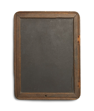 primitivism: Antique Black Board with Slate and Worn Sides Isolated on White Background.