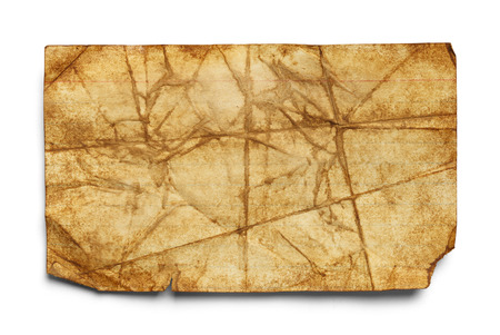 patched up: Old Dirty Bent Index Card Isolated on White Background.