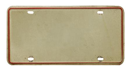 Kentekenplaat van een voertuig met kopie ruimte geïsoleerd op witte achtergrond. Stockfoto