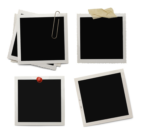 instant film transfer: Four Old Photos with Copy Space Isolated on White Background. Stock Photo
