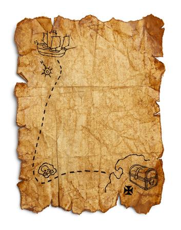 着用しわとリッピング古い茶色の紙は、白い背景で隔離。 写真素材