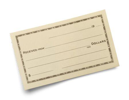 cheque en blanco: Individual en blanco Slip Recibo aisladas sobre fondo blanco.