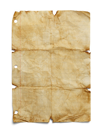 Old Folded Up School Note Paper with Copy Space Isolated on White Background.