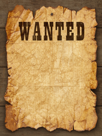 wild west: Wanted Poster Tacked on Wood Boards with Copy Space.