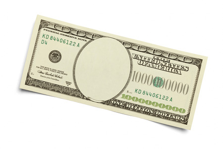 one hundred dollars: One Billion Dollar Bill With Cut Out Face Isolated on White Background.