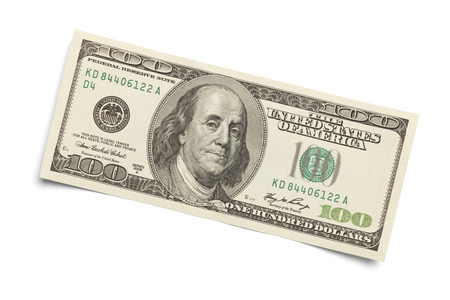 federal reserve: 100 dollar bill Isolated on a white background.