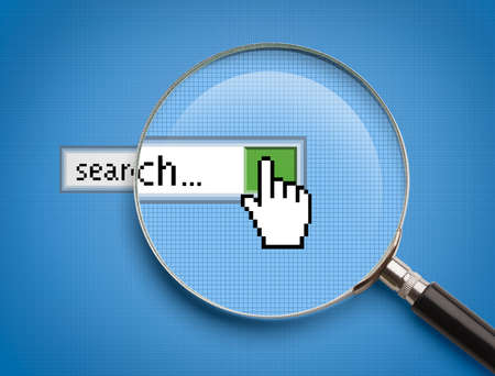 search engine marketing: Internet Browser Search Bar with Magnifying Glass. Stock Photo