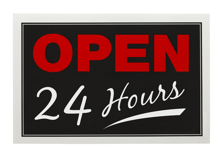 Red and Black Open 24 Hours Sign Isolated on White Background. photo