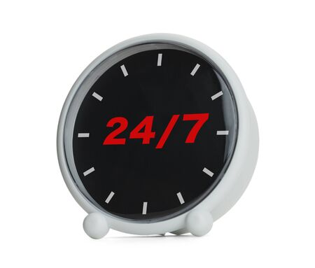 Clock with 247 in red Isolated on White Background. Imagens