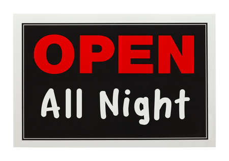 Sign with Open All Night on It Isolated on White Background. photo